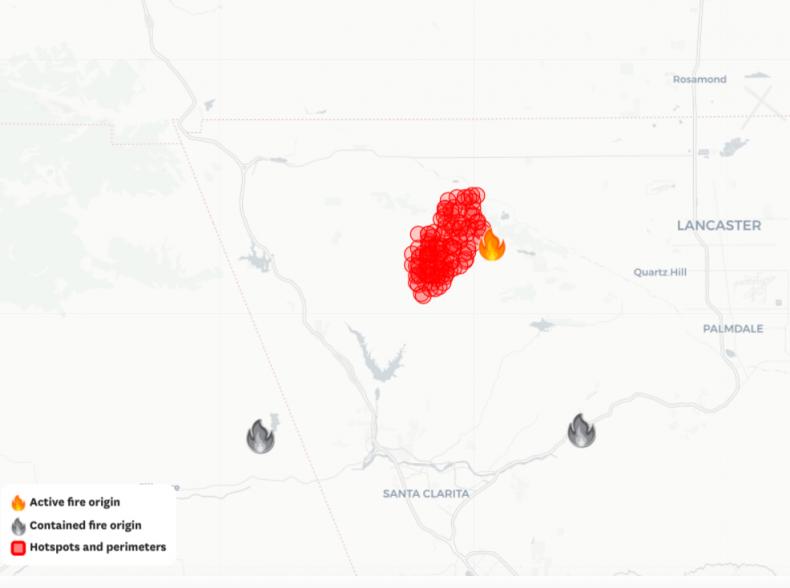 Lake Fire Map LA County