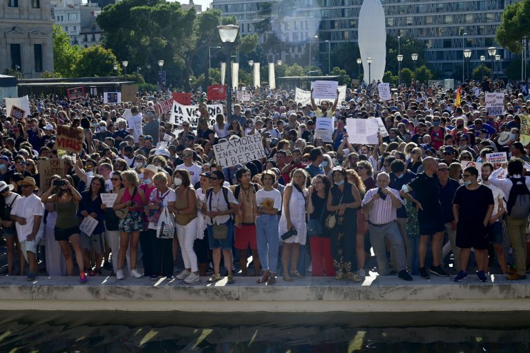 Madrid Spain antimask protest August 2020