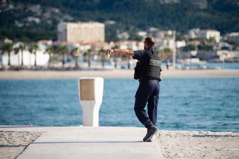 Police Marseille France beach June 2020