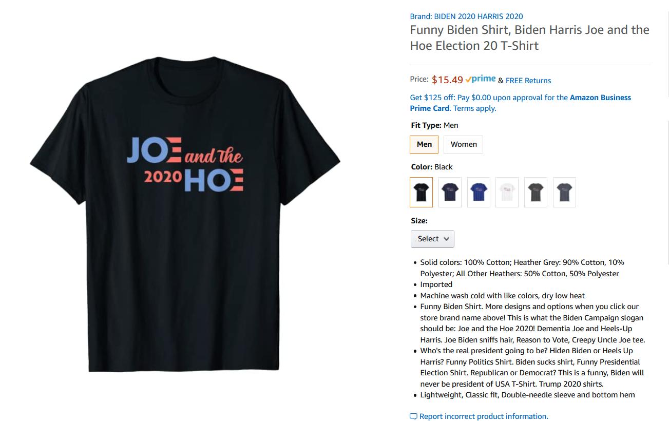 Joe Biden T-Shirt  2020 Election Democratic Presidential Tee Tops US Sport  Tops