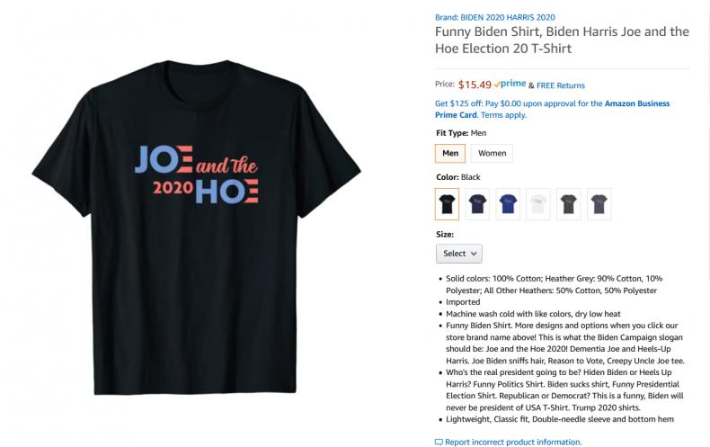 Offensive Biden/Harris Shirt on Amazon.com