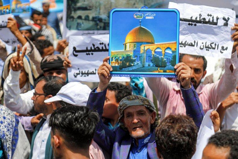 uae, yemen, protest, israel