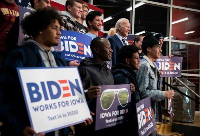 Joe Biden with college students