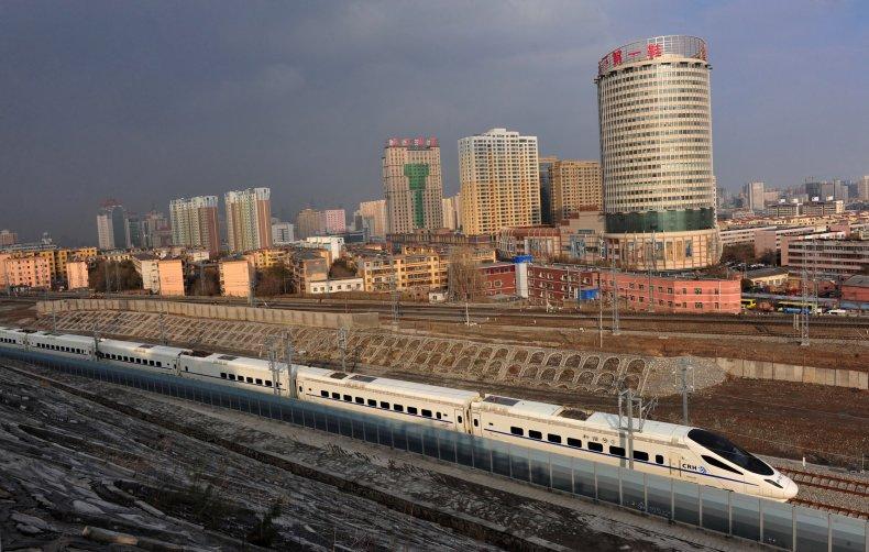 A CRH high-speed train runs across Urumqi