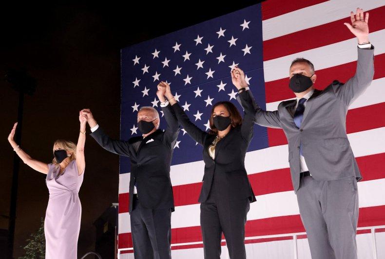 Joe Biden and Kamala Harris with spouses