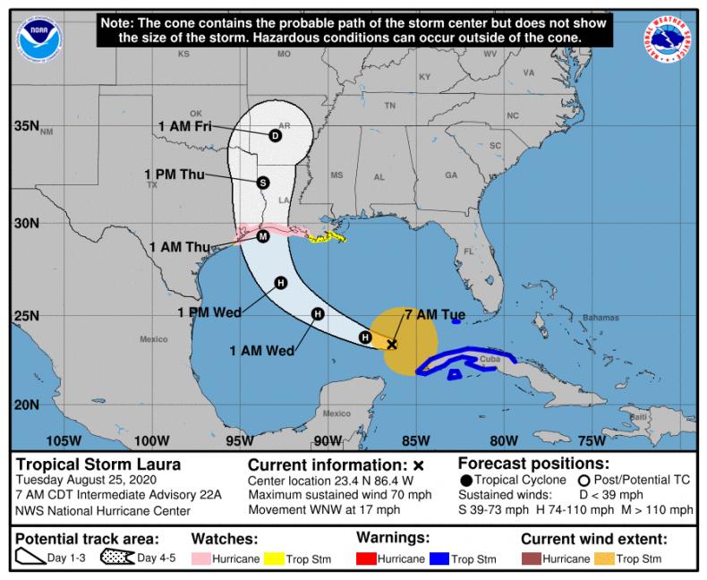 Hurricane Laura Map