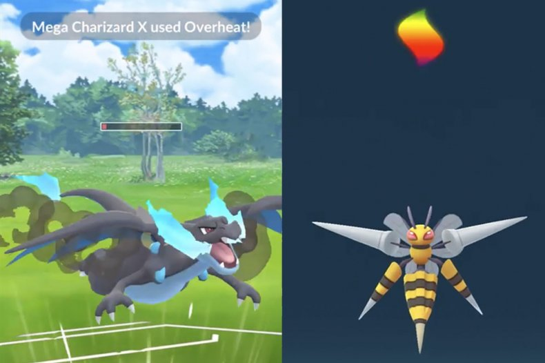 pokemon go mega charizard x beedrill battle