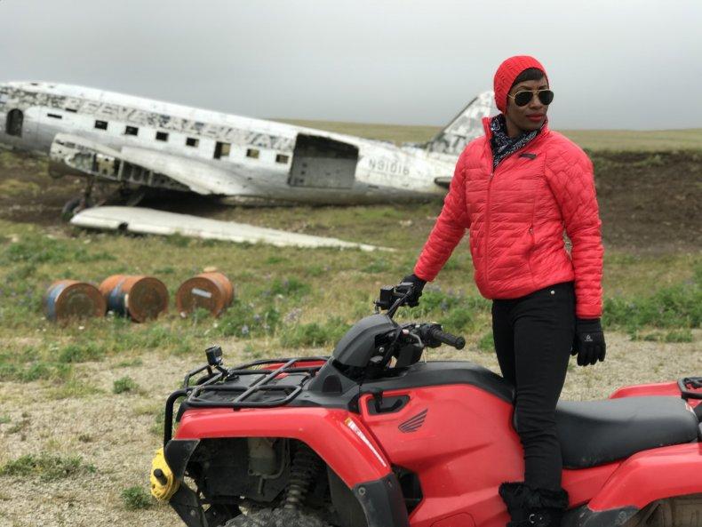 Kellee Edwards filming in Nikolski, Alaska