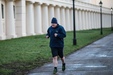 Boris Johnson running in winter