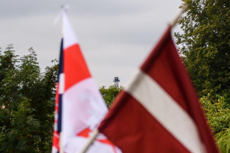 belarus, latvia, border, guard, flags