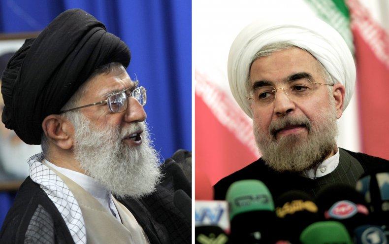 Iran's Ayatollah Khamenei and President Rouhani