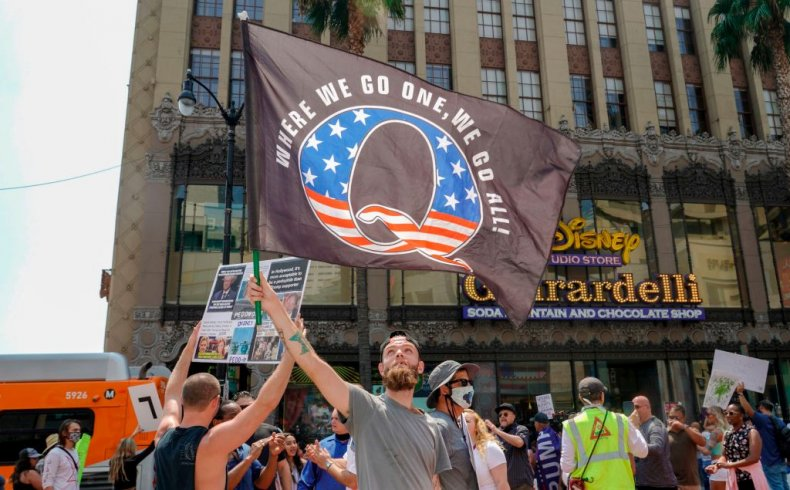 QAnon Supporters Demonstrate in Los Angeles