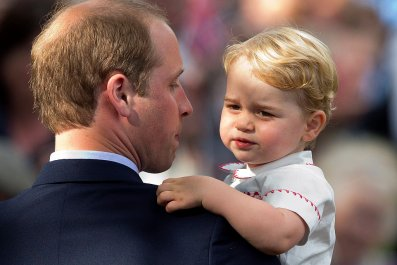Prince William, Prince George at Charlotte's Christening