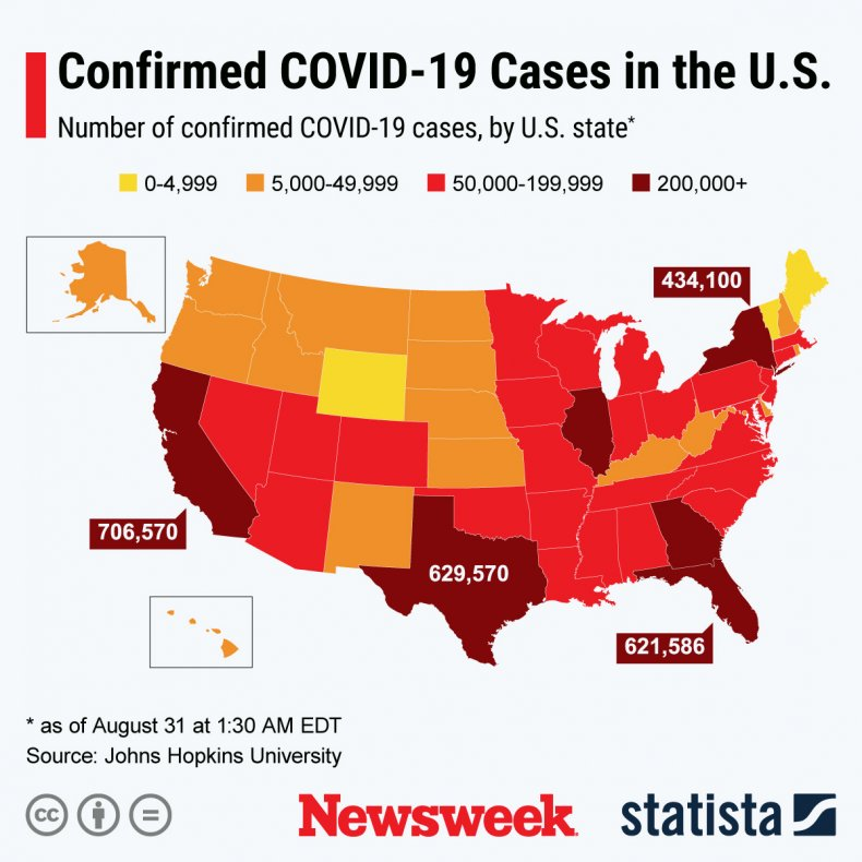 States with most COVID-19 cases