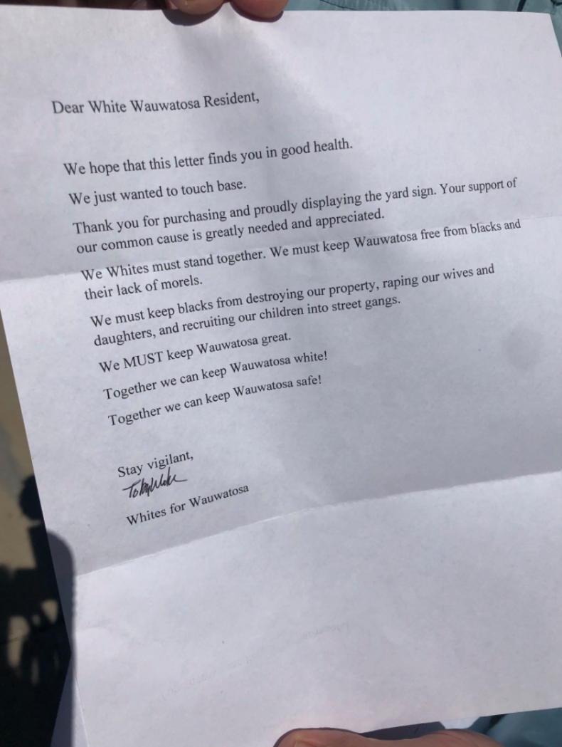 Anonymous Letter Sent to Wauwatosa Residents