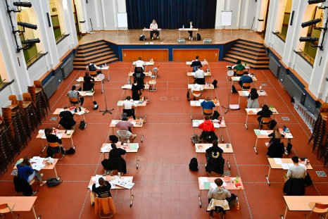 Germany Berlin school exam socially distanced tables