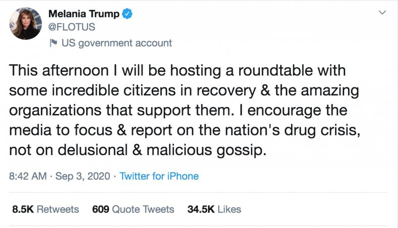 Thursday's Tweet by Melania Trump