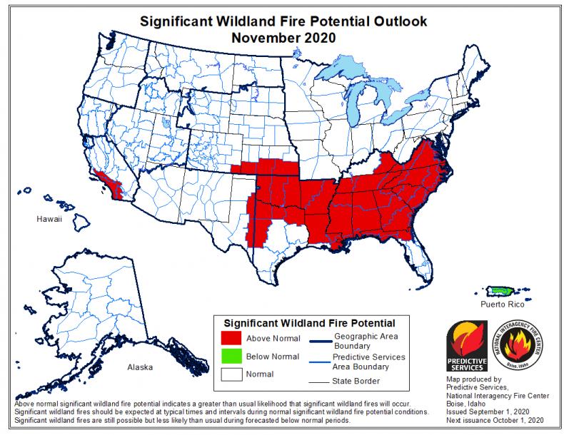 November Wildfire Forecast