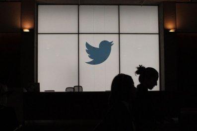 Twitter logo on a window