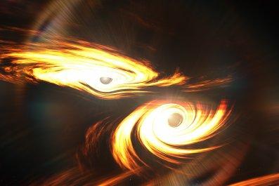 Black holes, black hole collision, space