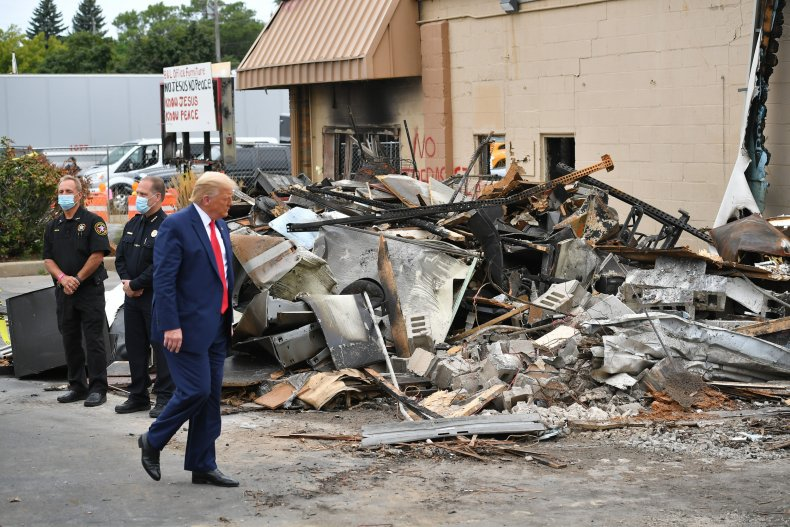 president trump tours damage kenosha