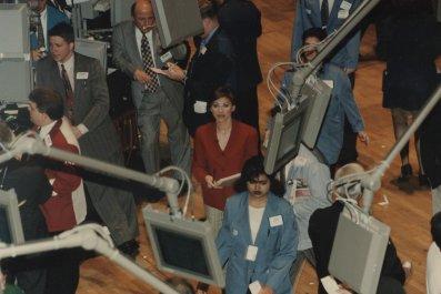 Maria Bartiromo on NYSE floor