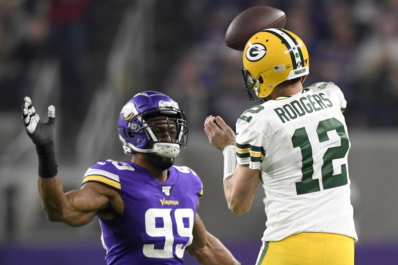 Aaron Rodgers, Danielle Hunter, Green Bay Packers