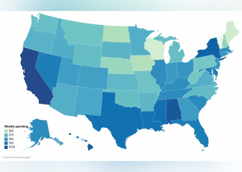 Average amount spent on food prepared elsewhere: Demographics