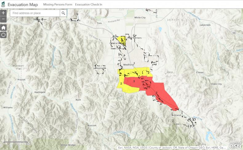 Jackson County Evacuation Map