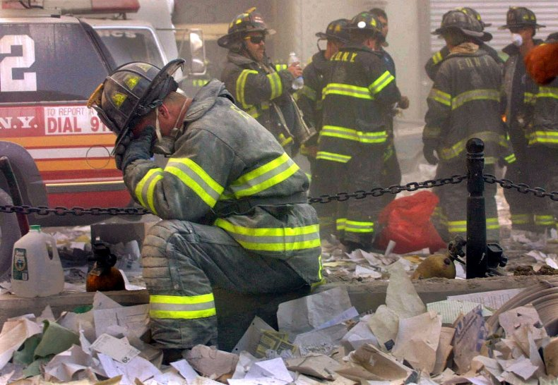 Firefighter Weeps On September 11
