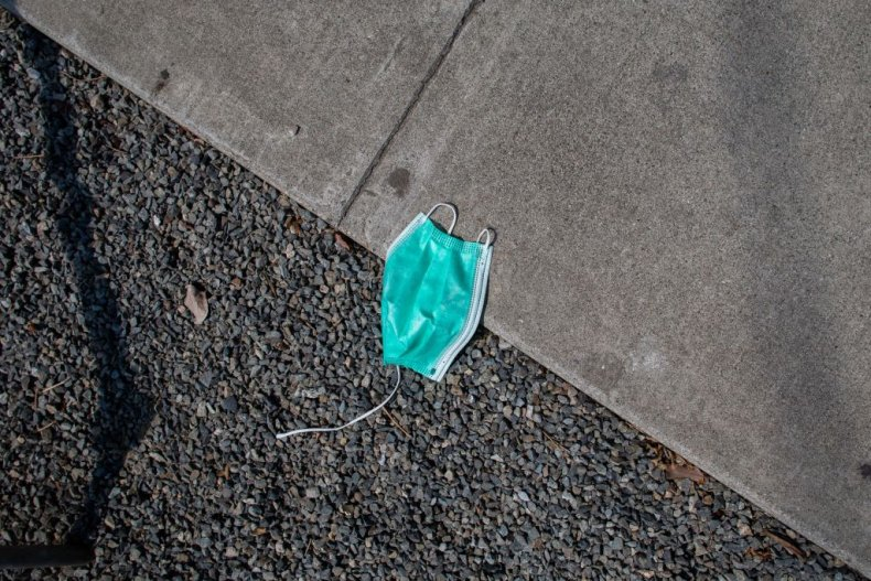 Discarded face mask