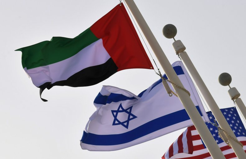 UAE, Israel, and U.S. flags waving