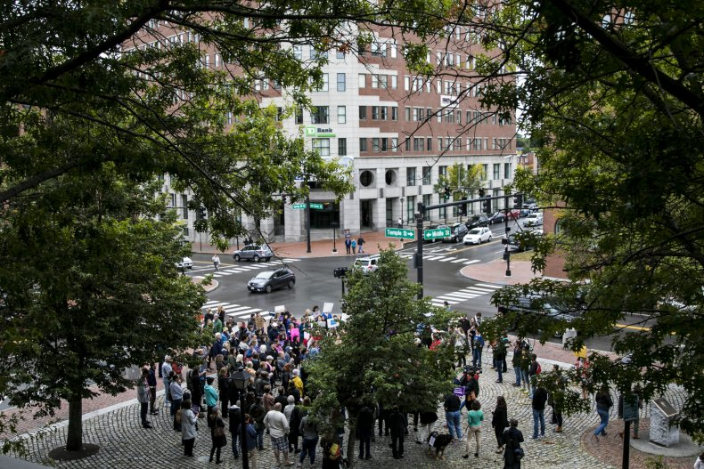 Portland, Maine, street, protesters, September 2018
