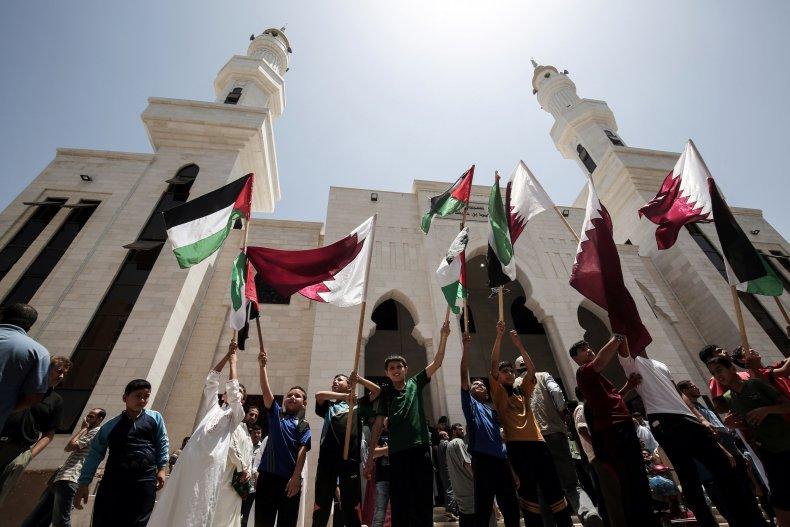qatar, palestinian, flag, gaza