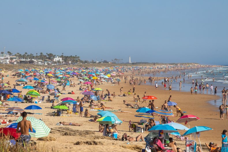 Spain beach crowd June 2020