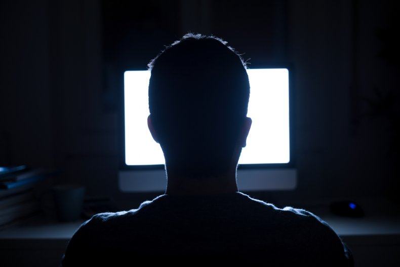 Stock: Man seated in front of computer