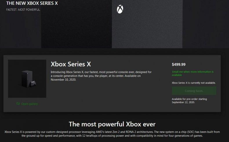 xbox series x microsoft store page