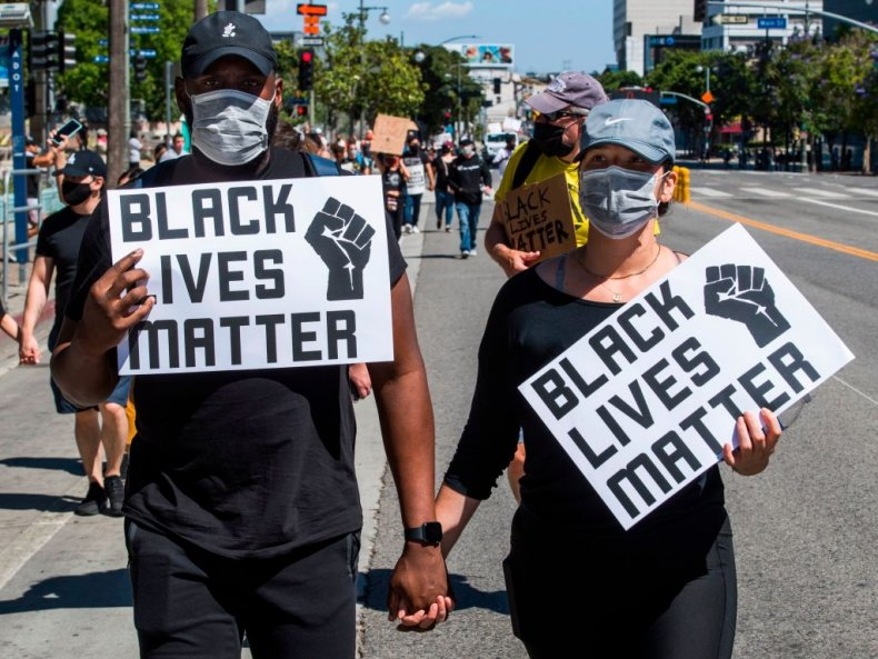 Supporters of Black Lives Matter in LA