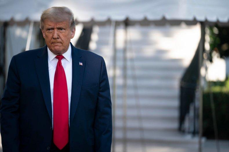President Donald Trump Walks Toward the Press