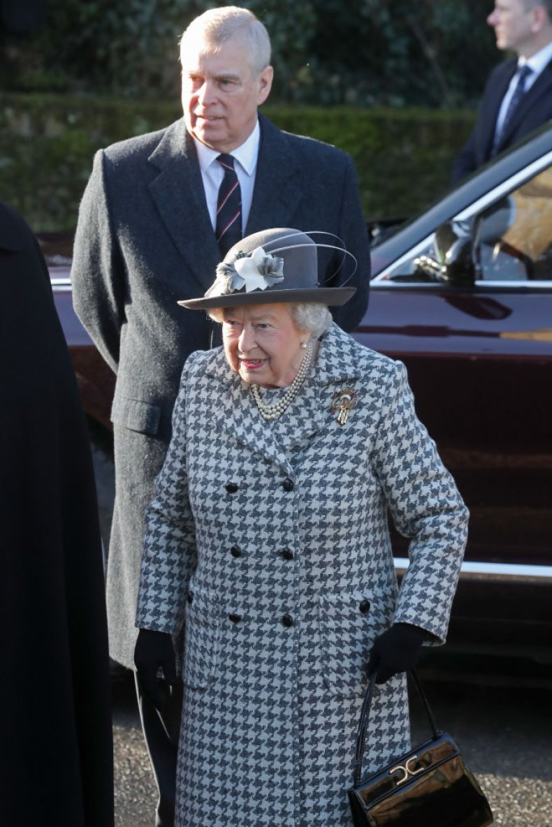Prince Andrew, Queen Elizabeth II at Church