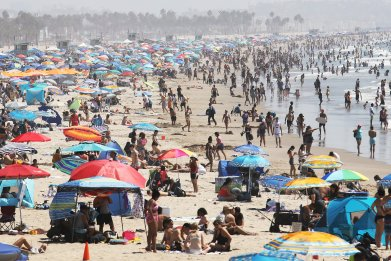 Santa Monica, California, beach crowds September 2020