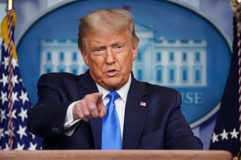 President Donald Trump in Press Room