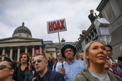 Anti COVID protesters in Trafalgar Square