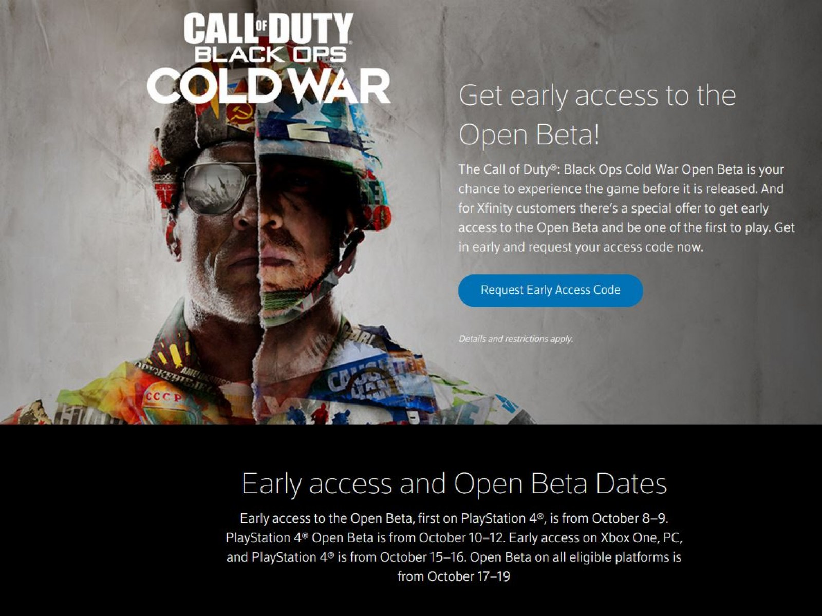 Call Of Duty Black Ops Cold War Beta How To Get A Free Xfinity Code