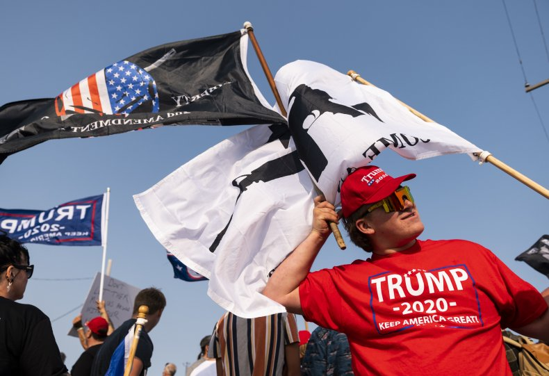 trump supporters rally outside biden event wisconsin