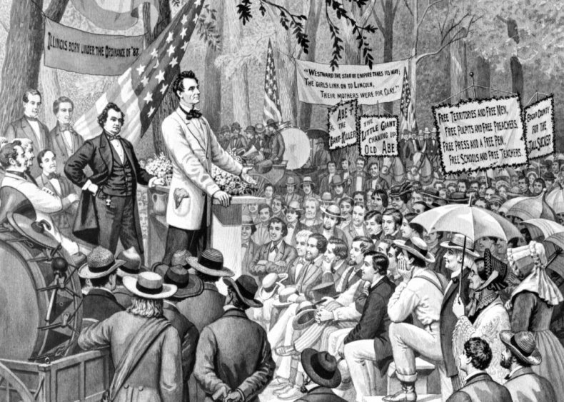 1858: Senatorial debate between Abraham Lincoln and Stephen Douglas
