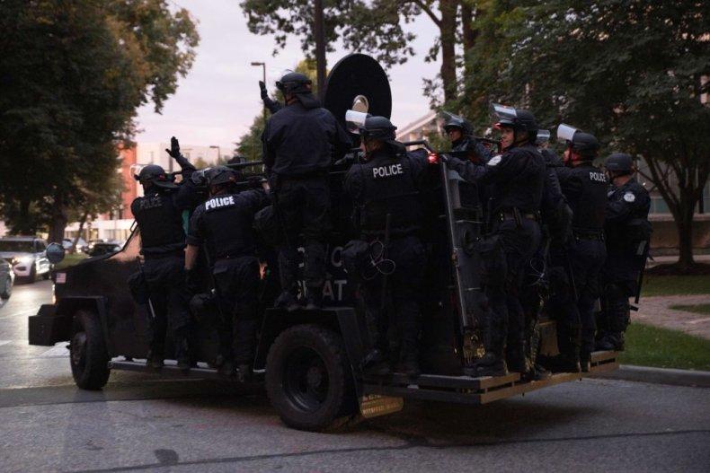 Riot police Black Lives Matter