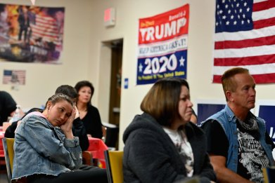Trump supporters watch debate
