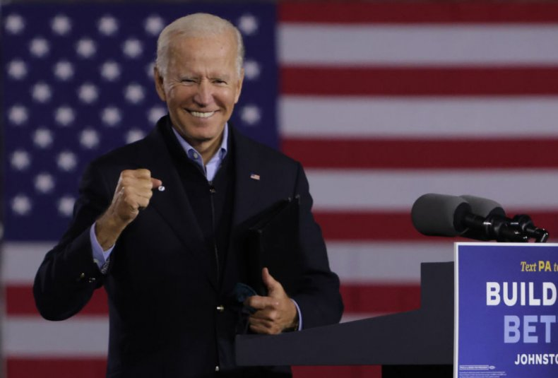 Joe Biden Gestures During a Campaign Stop