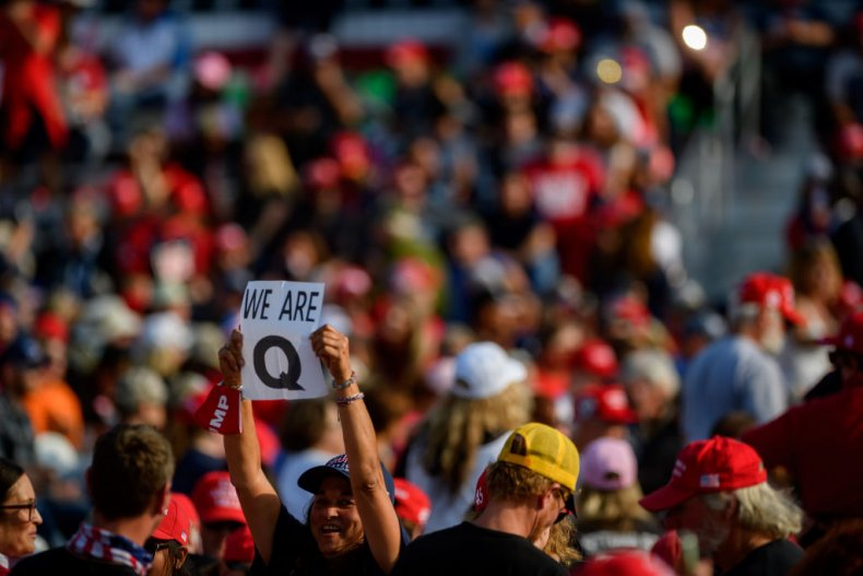 QAnon sign Donald Trump rally Pennsylvania